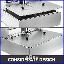 12/20L Electric Deep Fryer Commercial Dual Tank Fat Fry Chip Stainless Steel