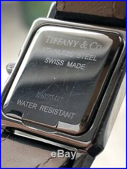 (20% OFF) TIFFANY & Co. Ladies Square Tank Stainless Steel WATCH Black Leather