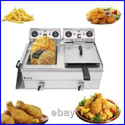 24L Commercial Electric Deep Fryer Fat Chip Twin Dual Tank Stainless Steel 6000W