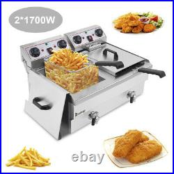 24L Electric Deep Fryer Fat Chip Frying Commercial Twin Tank Stainless Steel UK