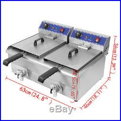 2×13L Electric Deep Fryer Commercial Dual Tank Twin Chip Basket Stainless Drain