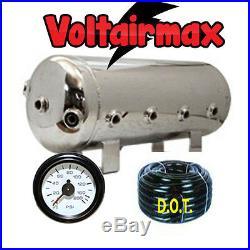 9 Gallon Stainless Steel Polish Air Tank 8 Port Air Ride 150-gauge Voltairmax