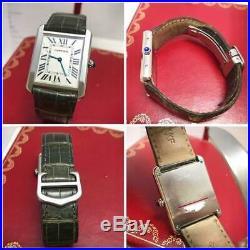 Auth Cartier Watch Tank Solo LM Quartz 27.4x34.8mm Leather Strap Mens F/s