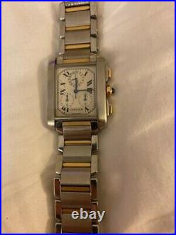 CARTIER TANK FRANCAISE 2302 AUTOMATIC, LARGE, STEEL AND GOLD, 28 mm X 32 mm IT53