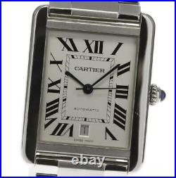 CARTIER Tank solo XL W5200028 Date Silver Dial Automatic Men's Watch 581633