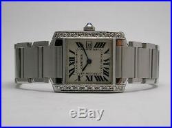 Cartier 2465 Tank Francaise Custom Diamond Setting Midsize Stainless Steel Watch