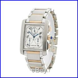 Cartier Chronoreflex Tank Francaise Watch 2303 Or W51004q4 28mm W4152