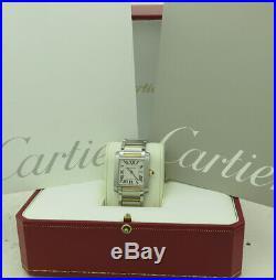 Cartier Ref 2465 Mid Quartz Steel & 18k Gold Silvered Dial Tank Francaise
