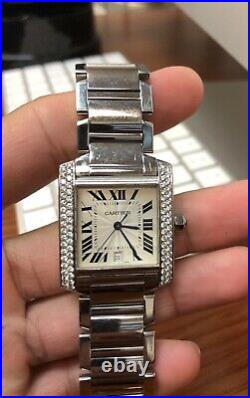 Cartier Tank 2302 Francaise Steel Silver Dial Automatic Mens Diamond Watch