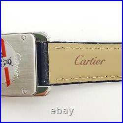Cartier Tank Americaine Small Ladies Steel Quartz Blue Leather Watch WSTA0016