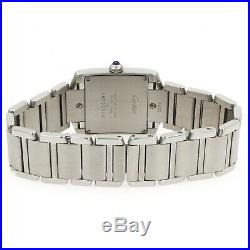 Cartier Tank Française 2301 Stainless Steel Quartz Watch with White Dial