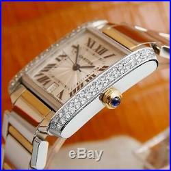 Cartier Tank Francaise 2302 Swiss Auto 18k Diamond Stainless St Mens Watch S195