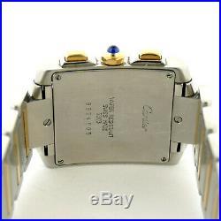 Cartier Tank Francaise 2303 Chronoflex 2-tone 18k Gold+stainless Steel Men Watch