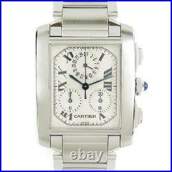 Cartier Tank Francaise Chrono Reflex Wrist Watch W51001Q3 Quartz White SS used
