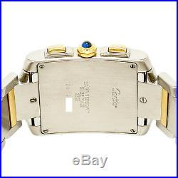 Cartier Tank Francaise Chronoflex 2303 Mens Quartz Watch Two Tone 18K YG SS 28mm
