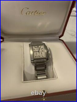 Cartier Tank Francaise Chronograph/Chronoflex (Ref 2303). Box And Papers