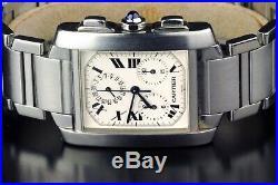 Cartier Tank Francaise Chronograph Ref 2303 Stainless Steel Quartz Men's Watch