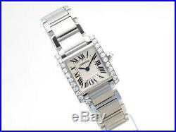 Cartier Tank Francaise Diamond Set, Steel Ladies Bracelet Watch, Ref, 2384