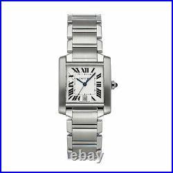 Cartier Tank Francaise Large Model Auto Steel Ladies Bracelet Watch W51002Q3