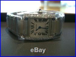 Cartier Tank Francaise Steel Ladies Watch 0.60 Diamond
