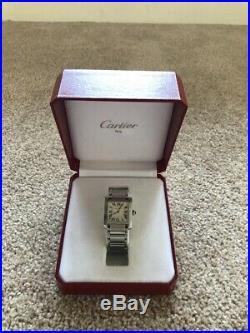 Cartier Tank Francaise Women's Medium Steel Watch 100% Authentic