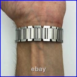 Cartier Tank Silver Roman Guilloche Dial Steel Automatic Unisex Watch W51002Q3