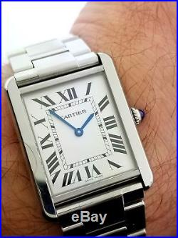 Cartier Tank Solo Ref 3169 27mm Stainless Steel Quartz Watch With Box
