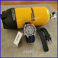 Citizen Promaster Automatic Men's Pepsi Diver Watch Ny0086-16l & Scuba Tank Case
