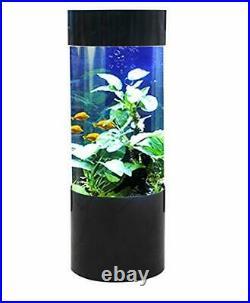 Column 80 Litre Cylinder Aquarium Fish Tank Black, Built in Filtration / Lights