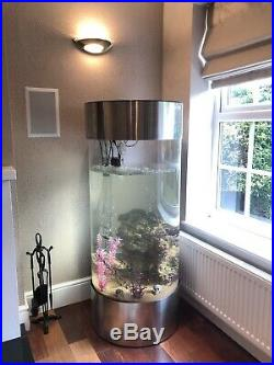 Column Aquarium Acrylic Fish Tank Stainless Steel Base/Hood & LED Lighting 268L