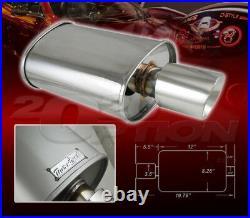 Double-wall Slant Tip Muffler Oval Spun-lock Tank For Nissan Subaru Polished
