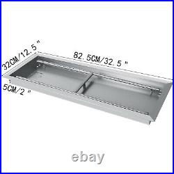 Drop-In Fire Pit Pan with Burner 32.5x12.5 Table-Top Rectangular Propane Tank