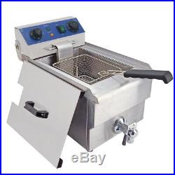 Electric Deep Fryer Stainless Steel Fat Chip Commercial Single Tank with Timer 10L