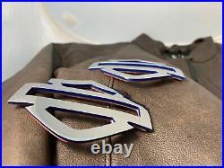 Harley CVO custom tank emblems, 3.2 stainless steel with blue edges