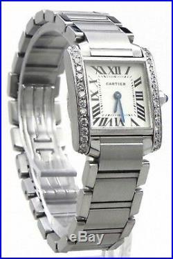 Ladies Cartier Tank Francaise 2384 S. S. Diamonds Bezel Watch