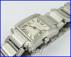 Ladies Cartier Tank Francaise 2384 Stainless Steel Off-White Dial Quartz Watch