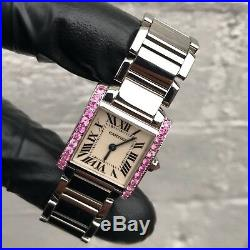 Ladies Stainless Steel Cartier Tank Francaise Set With Pink Sapphires