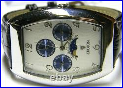 Mens Croton Moonphase Calendar Day Date Month Rectangle Tank blue White watch