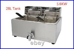 New 28L Commercial Electric Fryer 2 Baskets Huge Single Tank With Drain Taps MC
