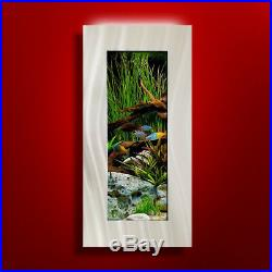 New! Original Aussie Aquarium -verticali Brushed Aluminum Wall Mounted Fish Tank