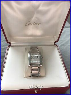 Not Working Cartier Tank Francaise Chronoflex Quartz Watch ref 2303 With Box