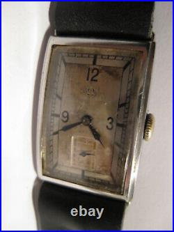 OMEGA SWISS ART DECO 1930's RECTANGULAR TANK ALL ST. STEEL Men's WATCH RARE