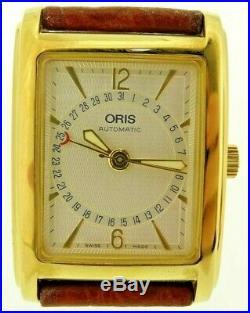 Oris Mens Heritage Automatic Pointer Date Rectangular Gold Tank Watch B7460