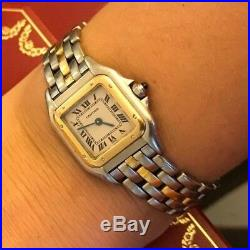 PANTHERe CARTIER WATCH TwoTone TANK Yellow Gold Steel 22mm WOMEN AUTHENTIC Legit