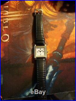 TIFFANY & Co. Ladies Square Tank Stainless Steel WATCH Black Leather Vtg Rare